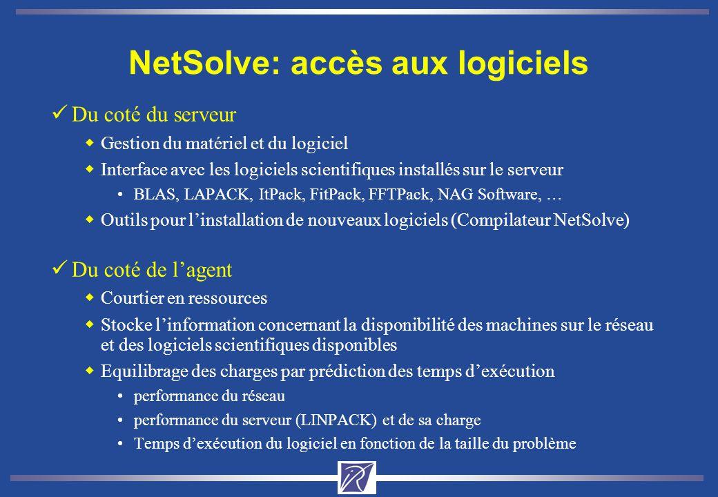 NetSolve: accès aux logiciels üDu coté du serveur wGestion du matériel et du logiciel wInterface avec les logiciels scientifiques installés sur le serveur BLAS, LAPACK, ItPack, FitPack, FFTPack, NAG Software, … wOutils pour linstallation de nouveaux logiciels (Compilateur NetSolve) üDu coté de lagent wCourtier en ressources wStocke linformation concernant la disponibilité des machines sur le réseau et des logiciels scientifiques disponibles wEquilibrage des charges par prédiction des temps dexécution performance du réseau performance du serveur (LINPACK) et de sa charge Temps dexécution du logiciel en fonction de la taille du problème