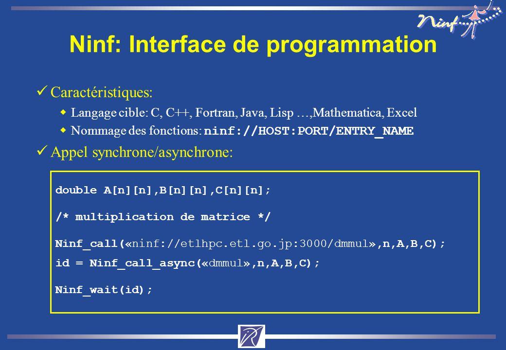 Ninf: Interface de programmation üCaractéristiques: wLangage cible: C, C++, Fortran, Java, Lisp …,Mathematica, Excel Nommage des fonctions: ninf://HOST:PORT/ENTRY_NAME üAppel synchrone/asynchrone: double A[n][n],B[n][n],C[n][n]; /* multiplication de matrice */ Ninf_call(«ninf://etlhpc.etl.go.jp:3000/dmmul»,n,A,B,C); id = Ninf_call_async(«dmmul»,n,A,B,C); Ninf_wait(id);