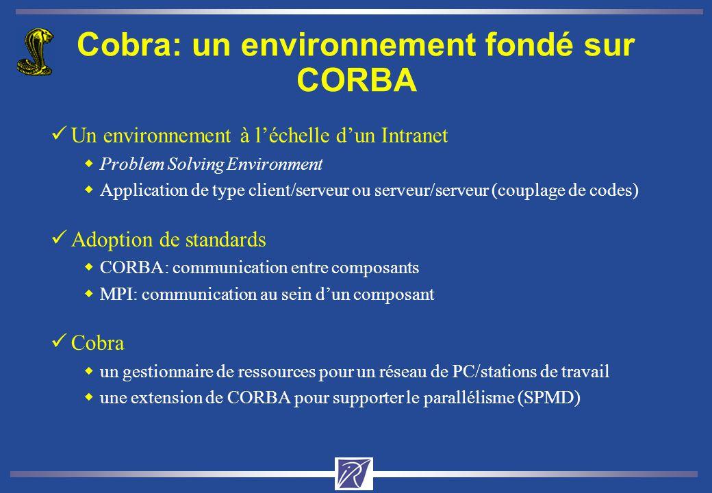 Cobra: un environnement fondé sur CORBA üUn environnement à léchelle dun Intranet wProblem Solving Environment wApplication de type client/serveur ou serveur/serveur (couplage de codes) üAdoption de standards wCORBA: communication entre composants wMPI: communication au sein dun composant üCobra wun gestionnaire de ressources pour un réseau de PC/stations de travail wune extension de CORBA pour supporter le parallélisme (SPMD)
