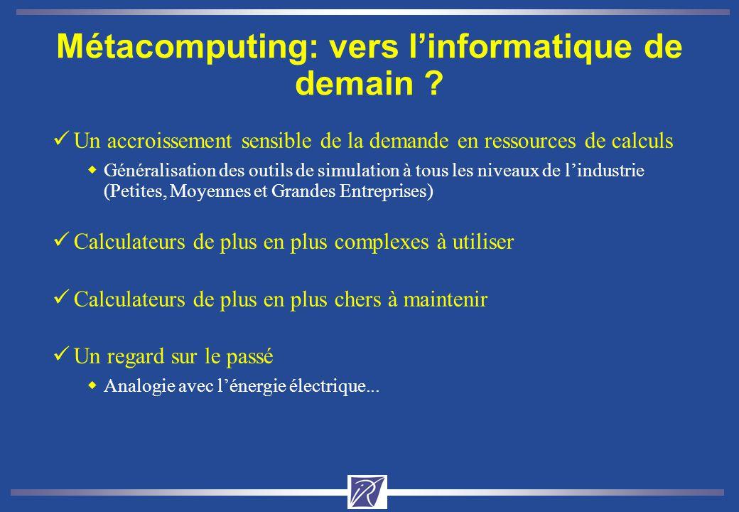 Métacomputing: vers linformatique de demain ? üUn accroissement sensible de la demande en ressources de calculs wGénéralisation des outils de simulati