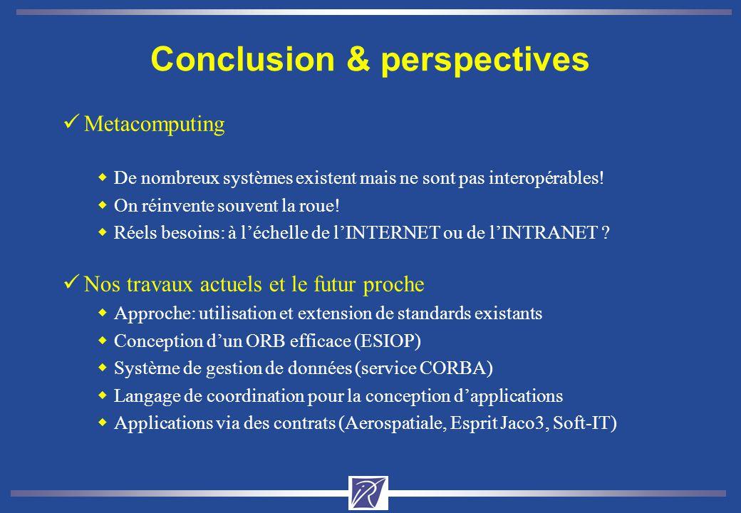 Conclusion & perspectives üMetacomputing wDe nombreux systèmes existent mais ne sont pas interopérables! wOn réinvente souvent la roue! wRéels besoins