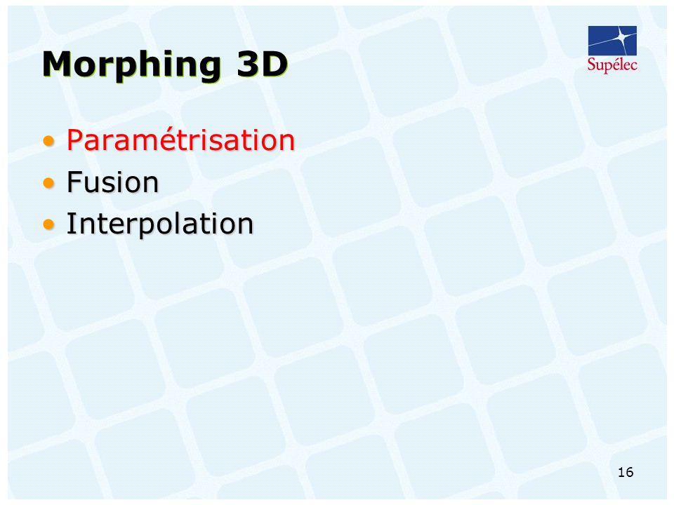 16 Morphing 3D ParamétrisationParamétrisation FusionFusion InterpolationInterpolation