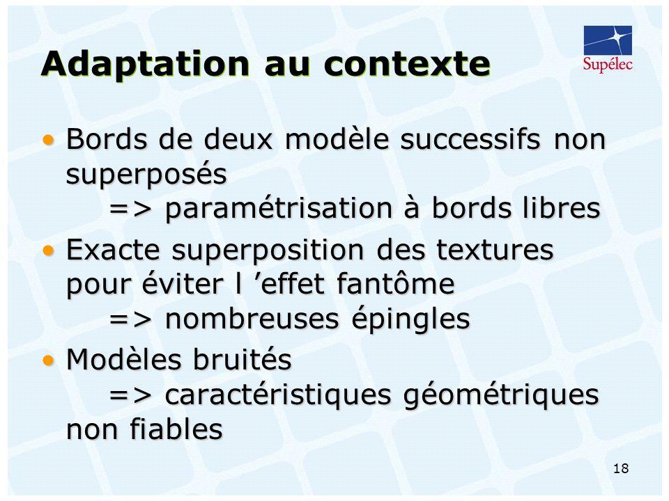 18 Adaptation au contexte Bords de deux modèle successifs non superposés => paramétrisation à bords libresBords de deux modèle successifs non superposés => paramétrisation à bords libres Exacte superposition des textures pour éviter l effet fantôme => nombreuses épinglesExacte superposition des textures pour éviter l effet fantôme => nombreuses épingles Modèles bruités => caractéristiques géométriques non fiablesModèles bruités => caractéristiques géométriques non fiables