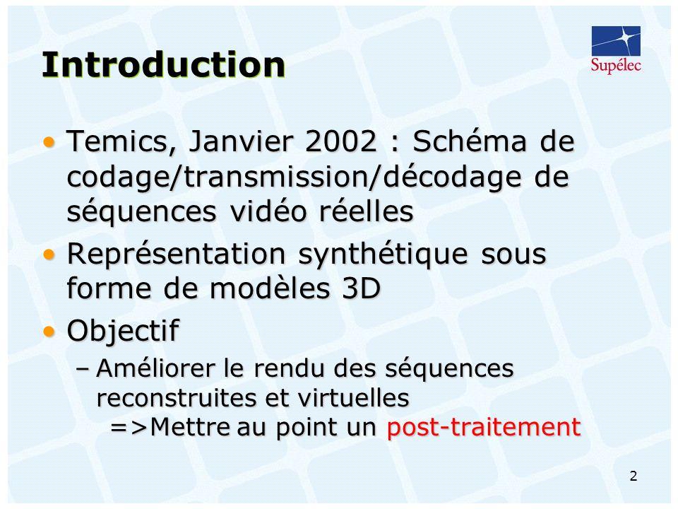 2 Introduction Temics, Janvier 2002 : Schéma de codage/transmission/décodage de séquences vidéo réellesTemics, Janvier 2002 : Schéma de codage/transmission/décodage de séquences vidéo réelles Représentation synthétique sous forme de modèles 3DReprésentation synthétique sous forme de modèles 3D ObjectifObjectif –Améliorer le rendu des séquences reconstruites et virtuelles =>Mettre au point un post-traitement