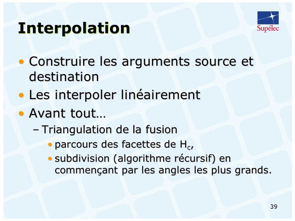 39 Interpolation Construire les arguments source et destinationConstruire les arguments source et destination Les interpoler linéairementLes interpoler linéairement Avant tout…Avant tout… –Triangulation de la fusion parcours des facettes de H c,parcours des facettes de H c, subdivision (algorithme récursif) en commençant par les angles les plus grands.subdivision (algorithme récursif) en commençant par les angles les plus grands.