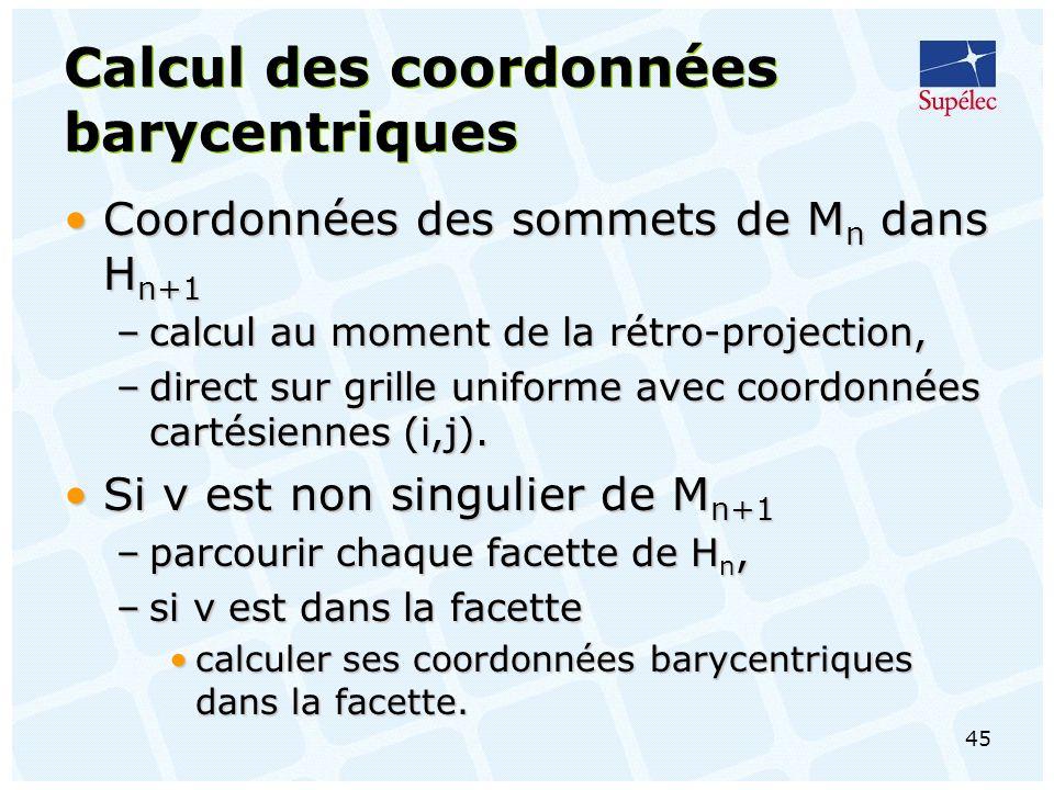 45 Calcul des coordonnées barycentriques Coordonnées des sommets de M n dans H n+1Coordonnées des sommets de M n dans H n+1 –calcul au moment de la rétro-projection, –direct sur grille uniforme avec coordonnées cartésiennes (i,j).