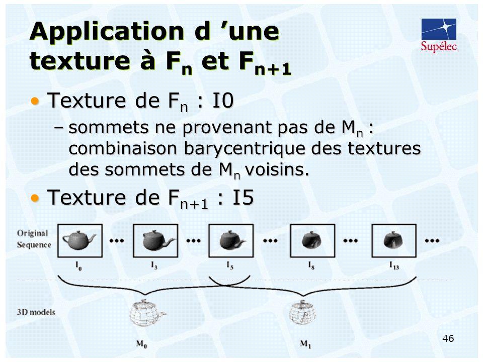 46 Application d une texture à F n et F n+1 Texture de F n : I0Texture de F n : I0 –sommets ne provenant pas de M n : combinaison barycentrique des textures des sommets de M n voisins.