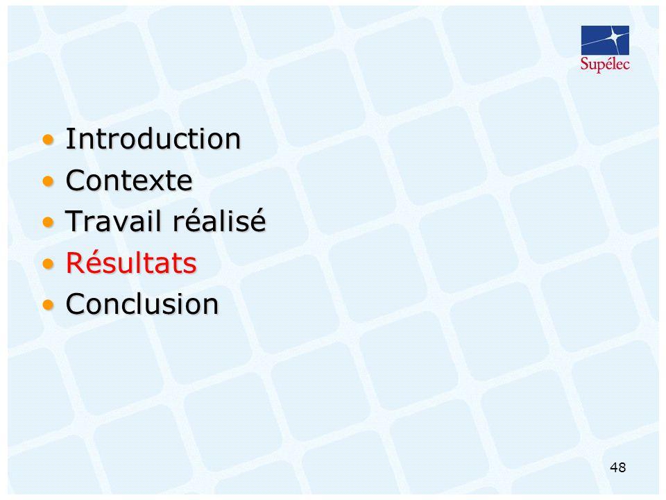 48 IntroductionIntroduction ContexteContexte Travail réaliséTravail réalisé RésultatsRésultats ConclusionConclusion