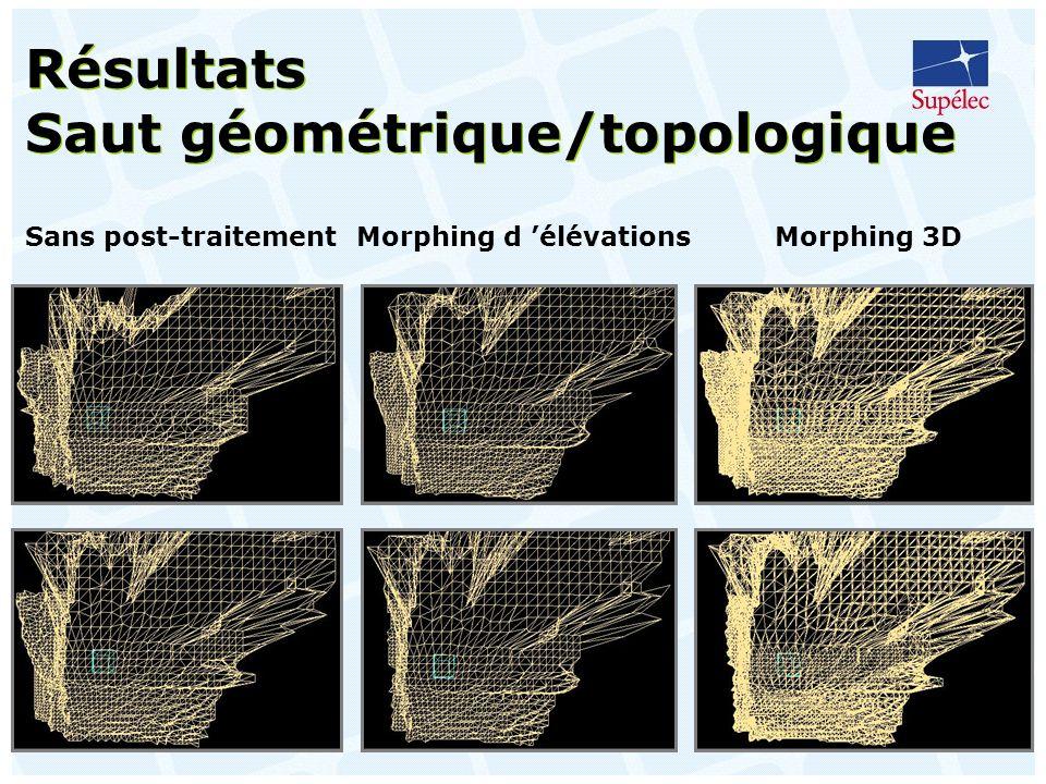 49 Résultats Saut géométrique/topologique Sans post-traitementMorphing d élévationsMorphing 3D