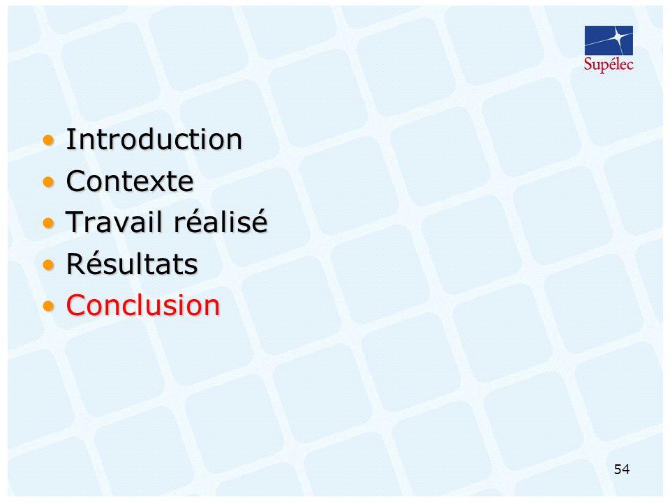 54 IntroductionIntroduction ContexteContexte Travail réaliséTravail réalisé RésultatsRésultats ConclusionConclusion