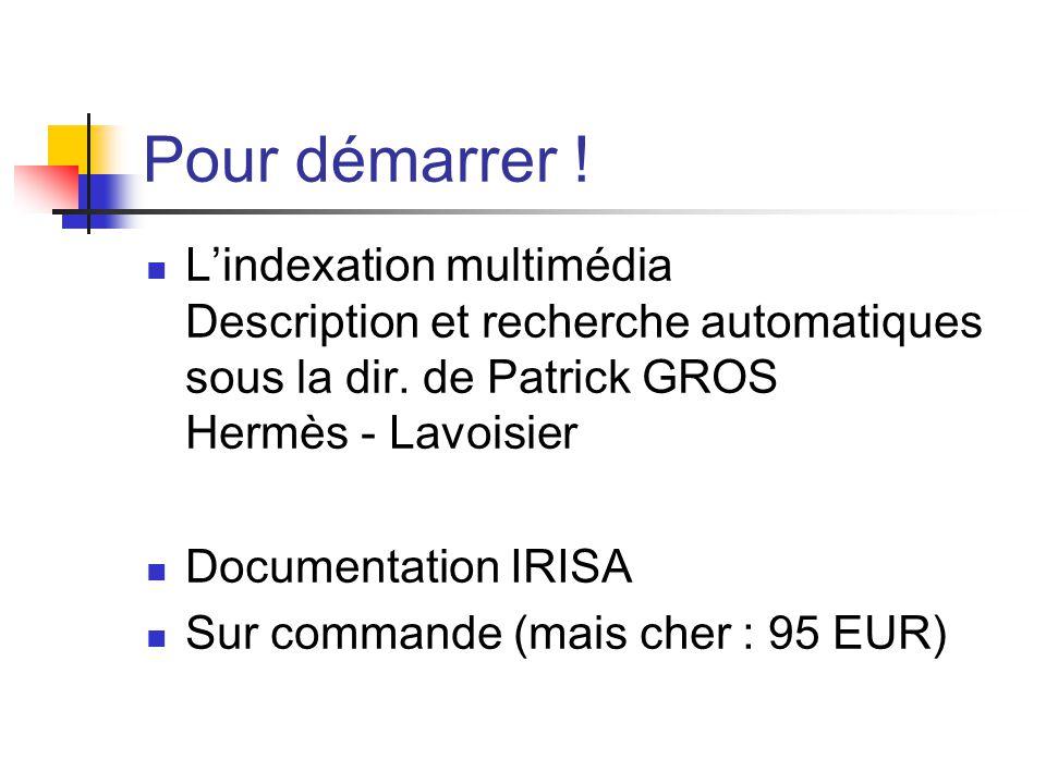 Pour démarrer ! Lindexation multimédia Description et recherche automatiques sous la dir. de Patrick GROS Hermès - Lavoisier Documentation IRISA Sur c