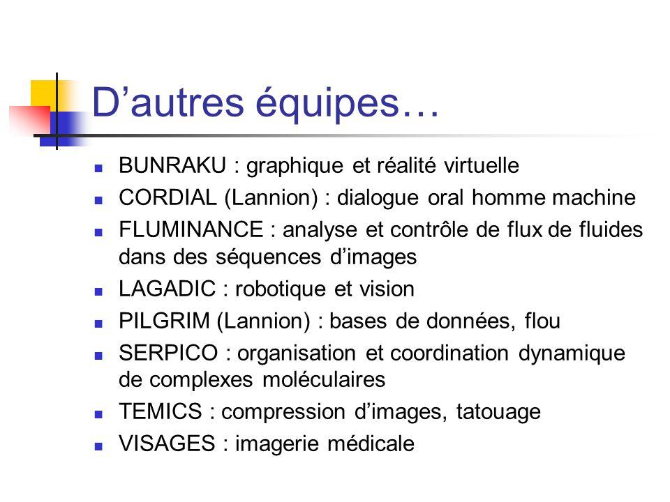 Dautres équipes… BUNRAKU : graphique et réalité virtuelle CORDIAL (Lannion) : dialogue oral homme machine FLUMINANCE : analyse et contrôle de flux de