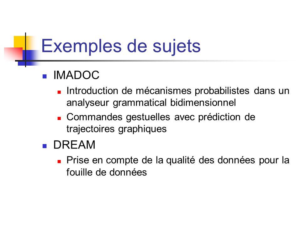 Exemples de sujets IMADOC Introduction de mécanismes probabilistes dans un analyseur grammatical bidimensionnel Commandes gestuelles avec prédiction d