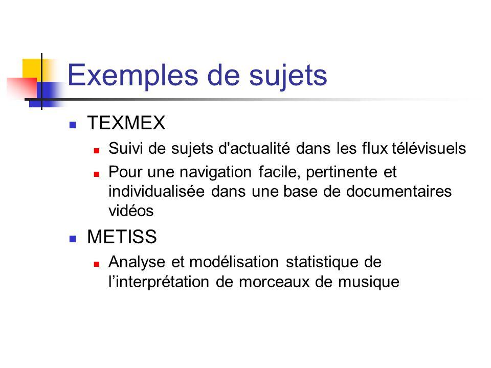 Exemples de sujets TEXMEX Suivi de sujets d'actualité dans les flux télévisuels Pour une navigation facile, pertinente et individualisée dans une base