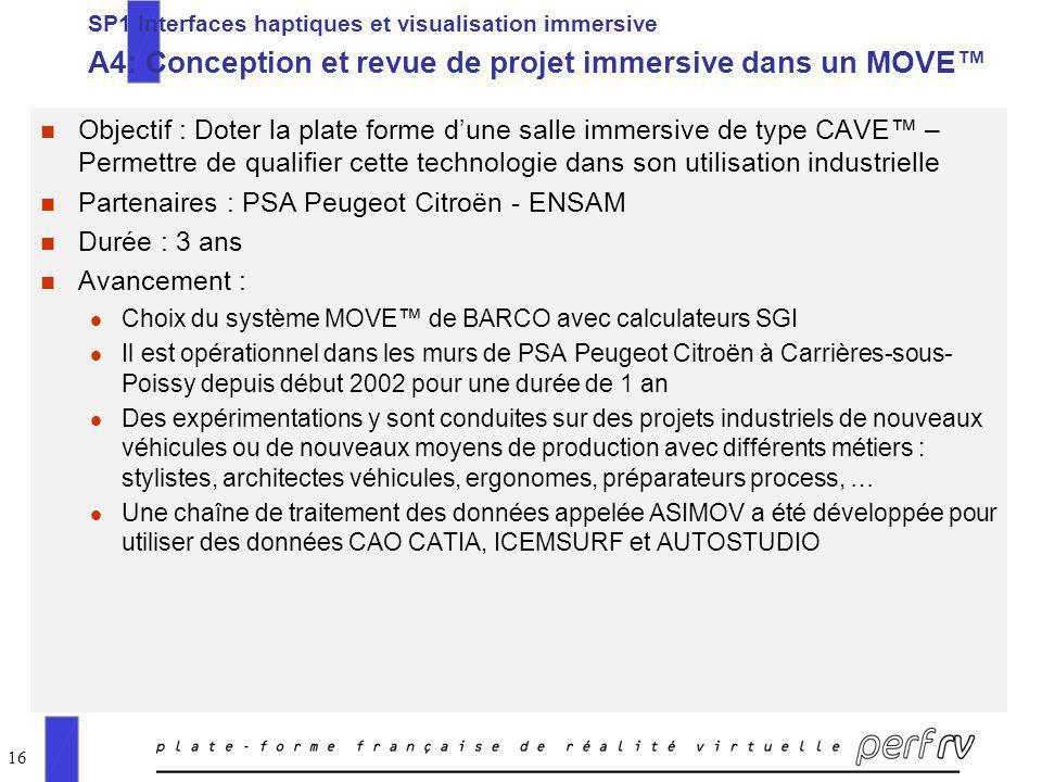 16 SP1 Interfaces haptiques et visualisation immersive A4: Conception et revue de projet immersive dans un MOVE n Objectif : Doter la plate forme dune