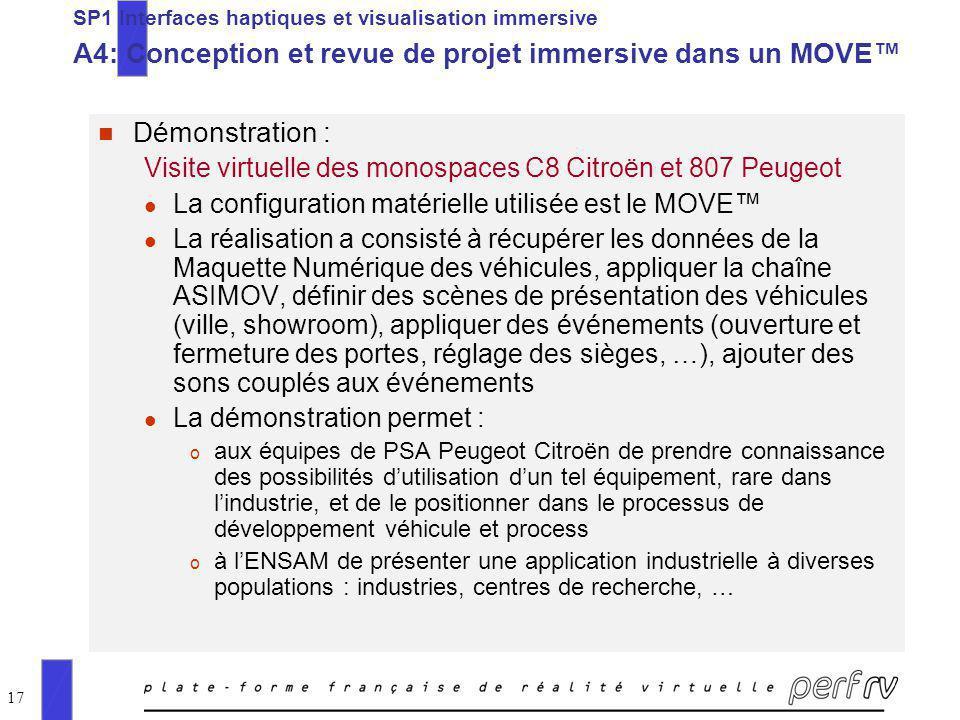 17 n Démonstration : Visite virtuelle des monospaces C8 Citroën et 807 Peugeot l La configuration matérielle utilisée est le MOVE l La réalisation a c