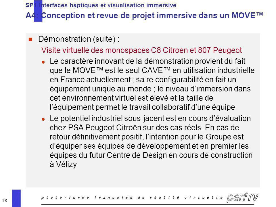 18 n Démonstration (suite) : Visite virtuelle des monospaces C8 Citroën et 807 Peugeot l Le caractère innovant de la démonstration provient du fait qu