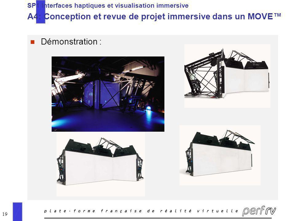 19 n Démonstration : SP1 Interfaces haptiques et visualisation immersive A4: Conception et revue de projet immersive dans un MOVE