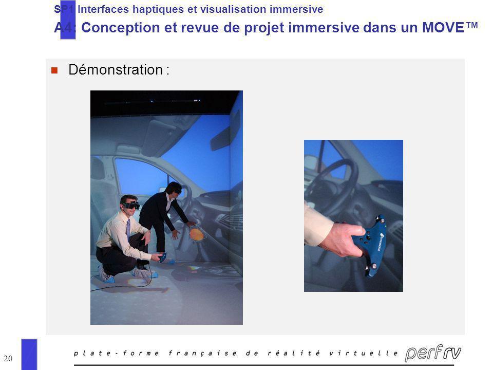 20 n Démonstration : SP1 Interfaces haptiques et visualisation immersive A4: Conception et revue de projet immersive dans un MOVE