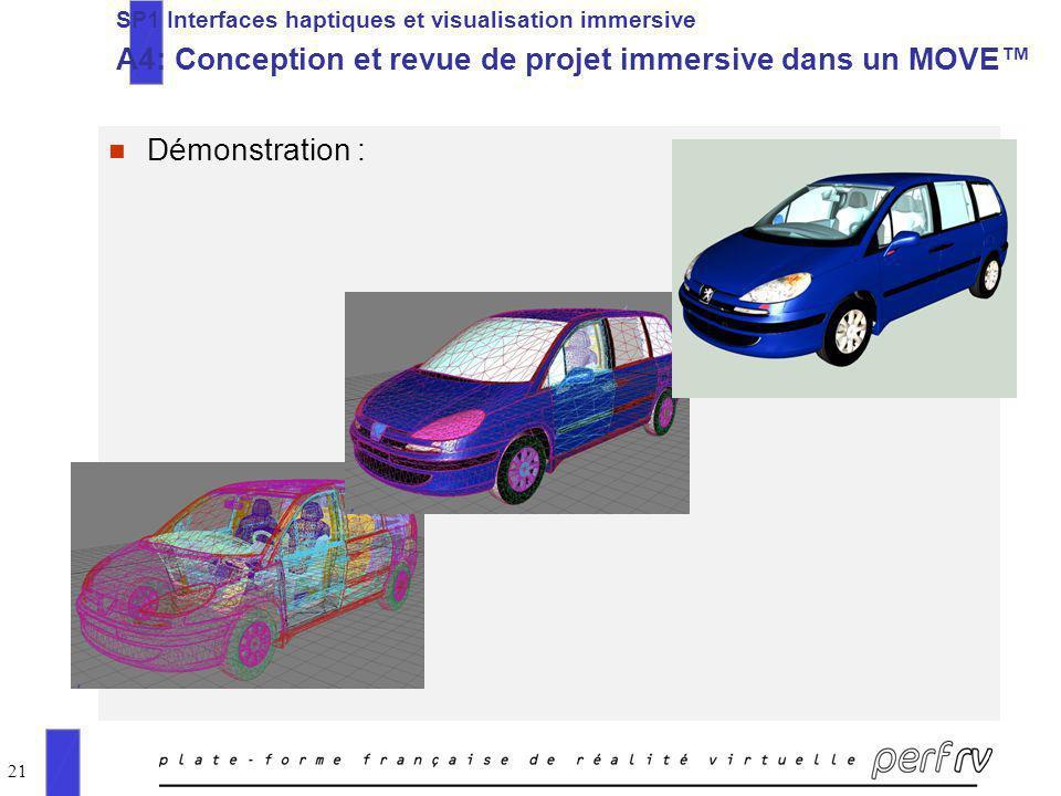 21 n Démonstration : SP1 Interfaces haptiques et visualisation immersive A4: Conception et revue de projet immersive dans un MOVE