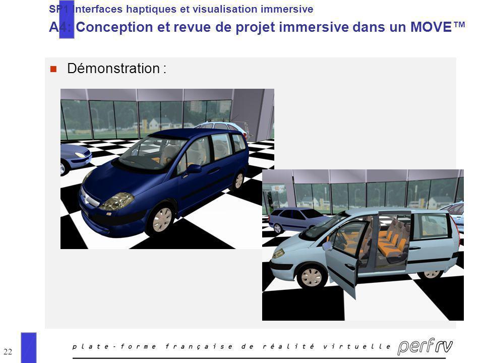 22 n Démonstration : SP1 Interfaces haptiques et visualisation immersive A4: Conception et revue de projet immersive dans un MOVE