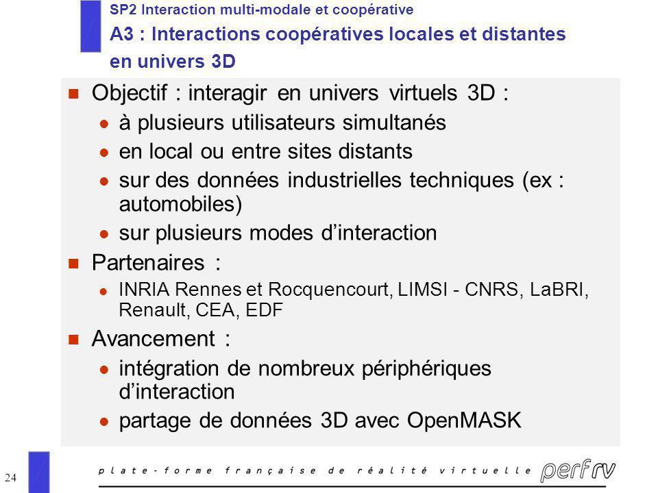 24 SP2 Interaction multi-modale et coopérative A3 : Interactions coopératives locales et distantes en univers 3D n Objectif : interagir en univers vir