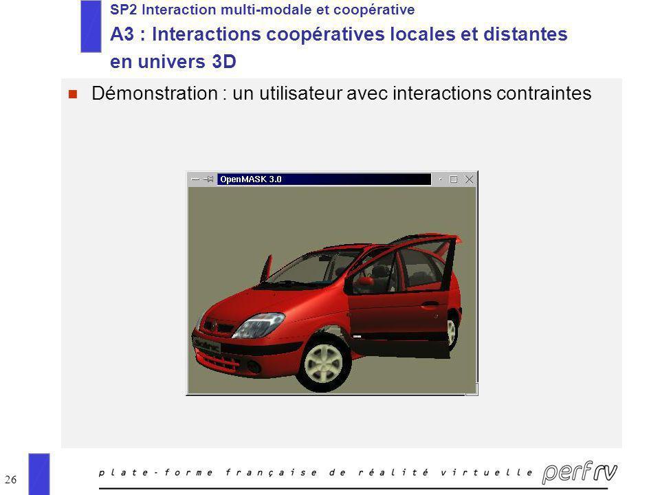 26 n Démonstration : un utilisateur avec interactions contraintes SP2 Interaction multi-modale et coopérative A3 : Interactions coopératives locales e
