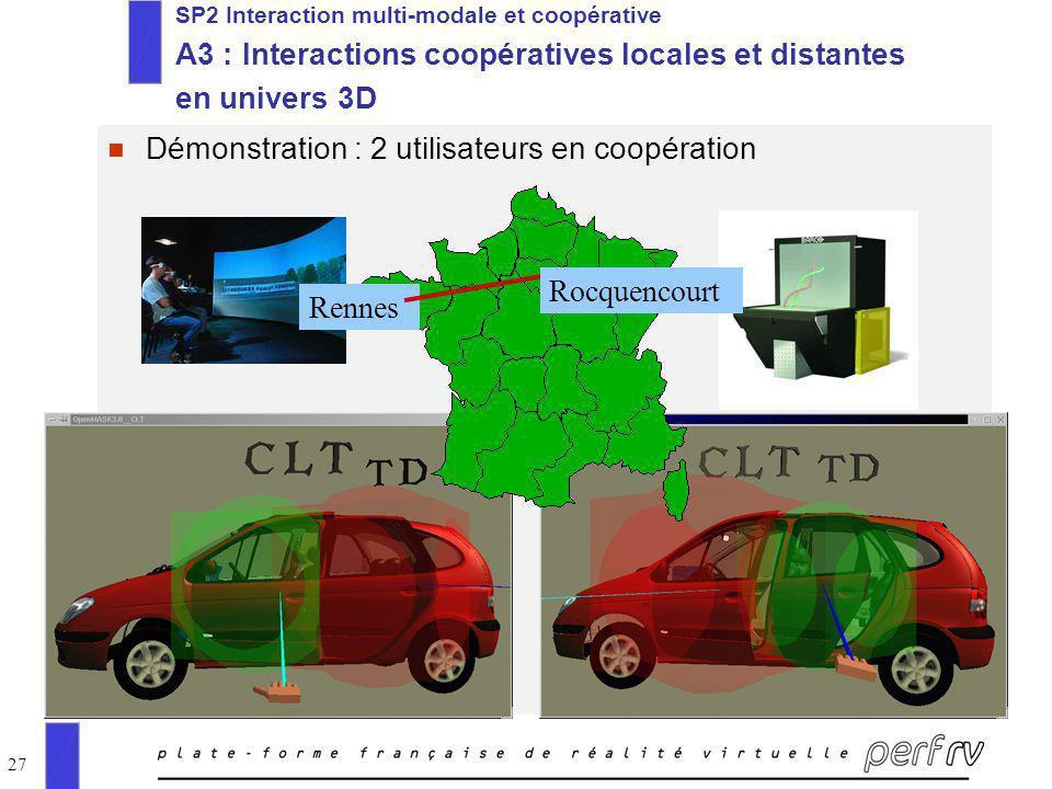 27 n Démonstration : 2 utilisateurs en coopération SP2 Interaction multi-modale et coopérative A3 : Interactions coopératives locales et distantes en