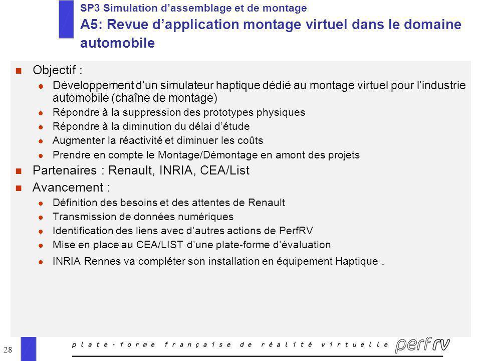 28 SP3 Simulation dassemblage et de montage A5: Revue dapplication montage virtuel dans le domaine automobile n Objectif : l Développement dun simulat