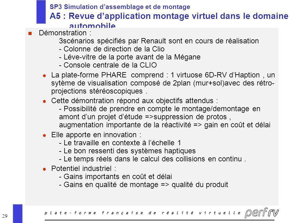 29 SP3 Simulation dassemblage et de montage A5 : Revue dapplication montage virtuel dans le domaine automobile n Démonstration : 3scénarios spécifiés
