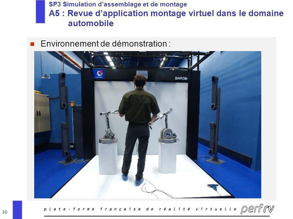 30 SP3 Simulation dassemblage et de montage A5 : Revue dapplication montage virtuel dans le domaine automobile n Environnement de démonstration :