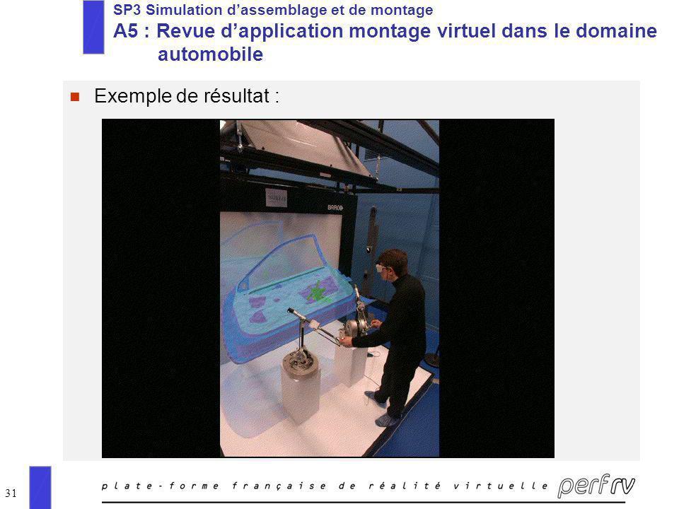 31 n Exemple de résultat : SP3 Simulation dassemblage et de montage A5 : Revue dapplication montage virtuel dans le domaine automobile