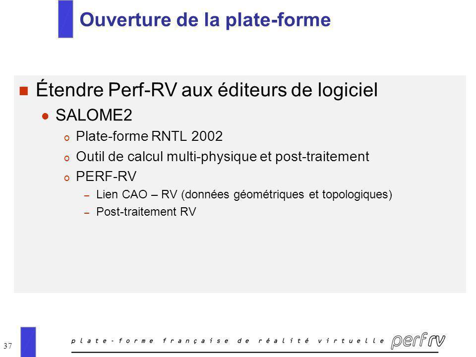 37 Ouverture de la plate-forme n Étendre Perf-RV aux éditeurs de logiciel l SALOME2 o Plate-forme RNTL 2002 o Outil de calcul multi-physique et post-t