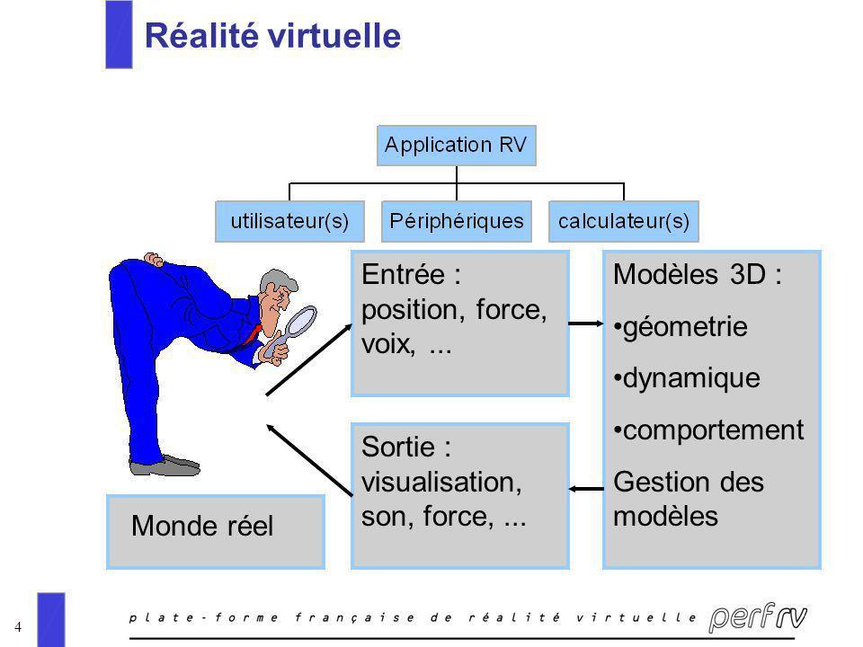 4 Réalité virtuelle Entrée : position, force, voix,... Sortie : visualisation, son, force,... Modèles 3D : géometrie dynamique comportement Gestion de