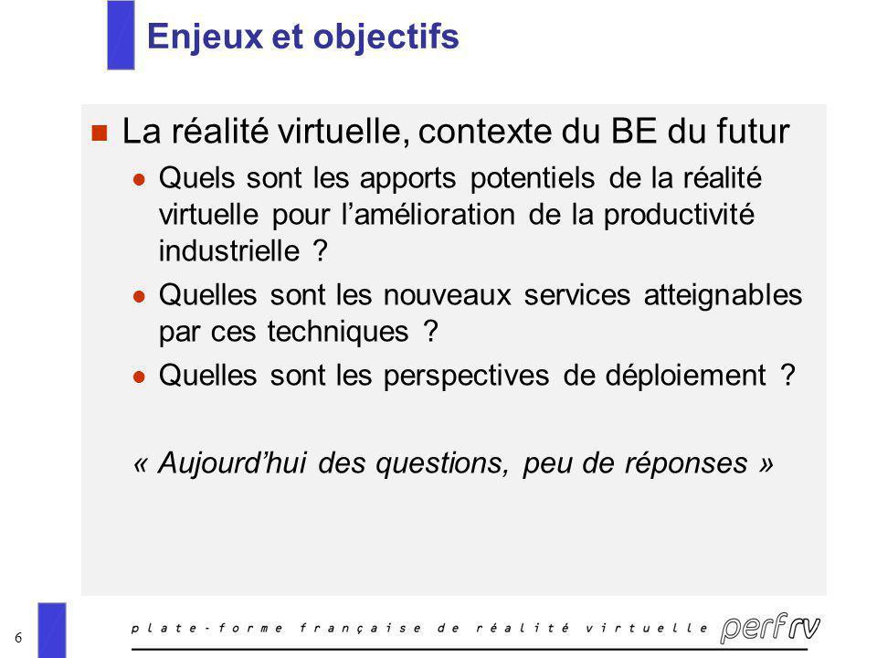 6 Enjeux et objectifs n La réalité virtuelle, contexte du BE du futur l Quels sont les apports potentiels de la réalité virtuelle pour lamélioration d