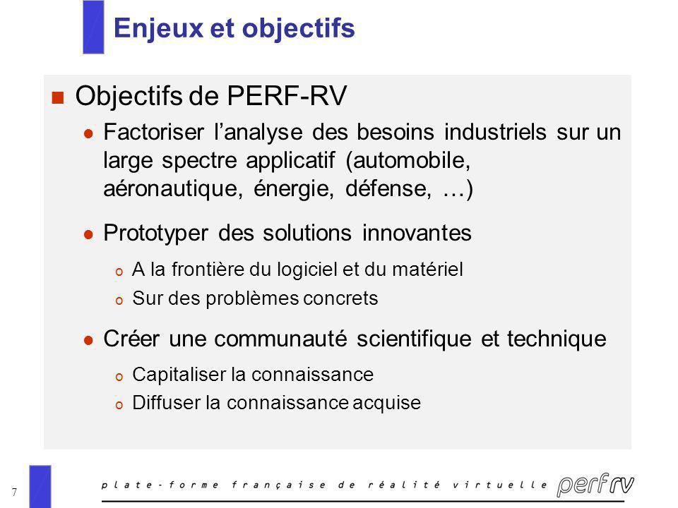 7 Enjeux et objectifs n Objectifs de PERF-RV l Factoriser lanalyse des besoins industriels sur un large spectre applicatif (automobile, aéronautique,