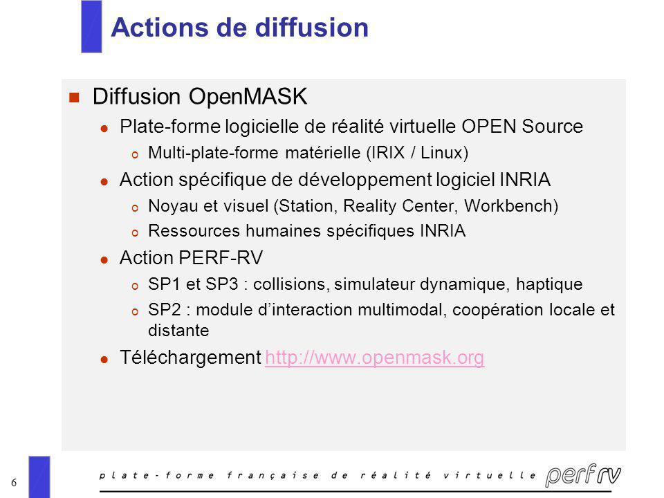 6 Actions de diffusion n Diffusion OpenMASK l Plate-forme logicielle de réalité virtuelle OPEN Source o Multi-plate-forme matérielle (IRIX / Linux) l Action spécifique de développement logiciel INRIA o Noyau et visuel (Station, Reality Center, Workbench) o Ressources humaines spécifiques INRIA l Action PERF-RV o SP1 et SP3 : collisions, simulateur dynamique, haptique o SP2 : module dinteraction multimodal, coopération locale et distante l Téléchargement http://www.openmask.orghttp://www.openmask.org
