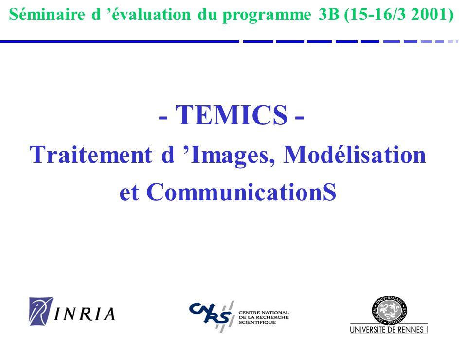- TEMICS - Traitement d Images, Modélisation et CommunicationS Séminaire d évaluation du programme 3B (15-16/3 2001)