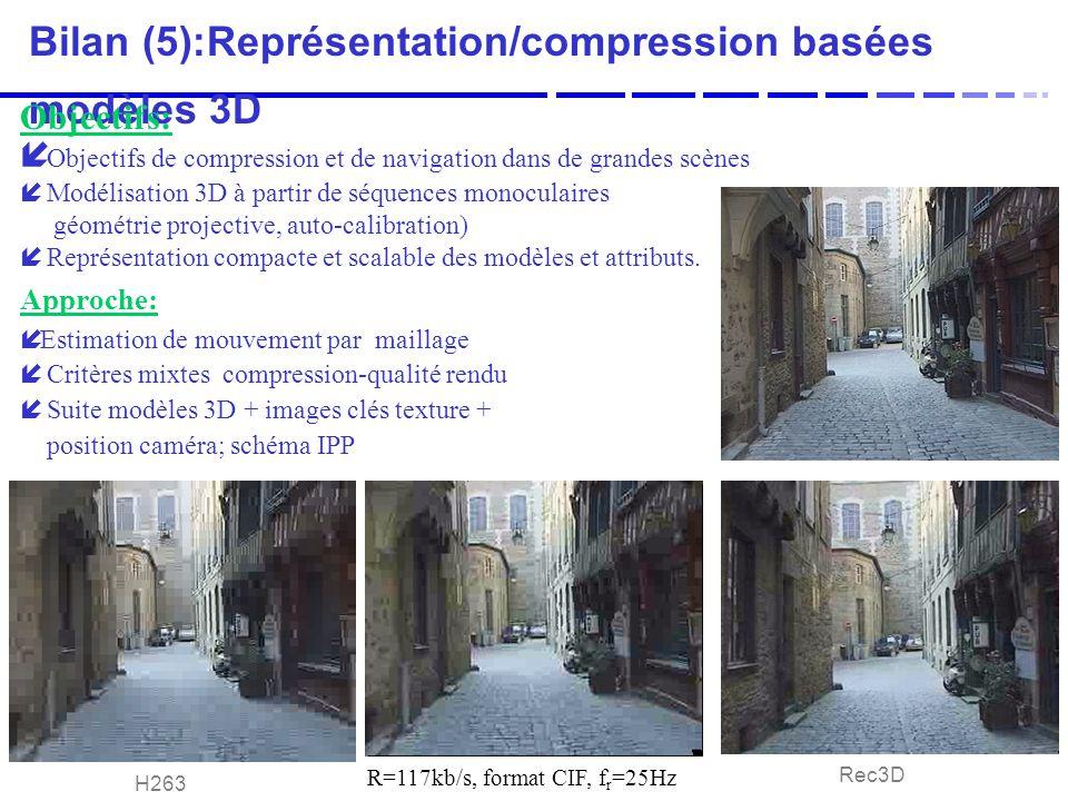 Bilan (5):Représentation/compression basées modèles 3D Objectifs: í Objectifs de compression et de navigation dans de grandes scènes í Modélisation 3D à partir de séquences monoculaires géométrie projective, auto-calibration) í Représentation compacte et scalable des modèles et attributs.