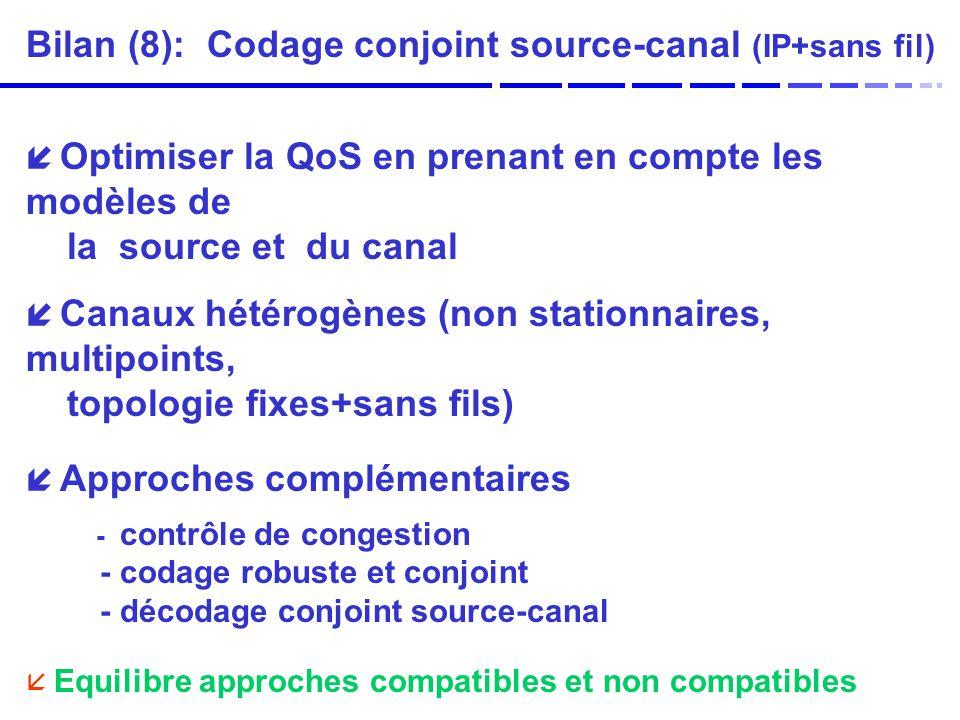 Bilan (8): Codage conjoint source-canal (IP+sans fil) Optimiser la QoS en prenant en compte les modèles de la source et du canal Canaux hétérogènes (non stationnaires, multipoints, topologie fixes+sans fils) Approches complémentaires - contrôle de congestion - codage robuste et conjoint - décodage conjoint source-canal Equilibre approches compatibles et non compatibles