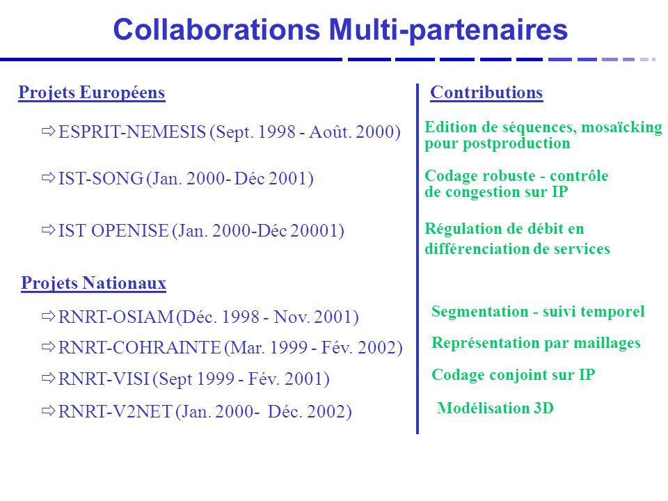 Collaborations Multi-partenaires Projets Européens ESPRIT-NEMESIS (Sept.