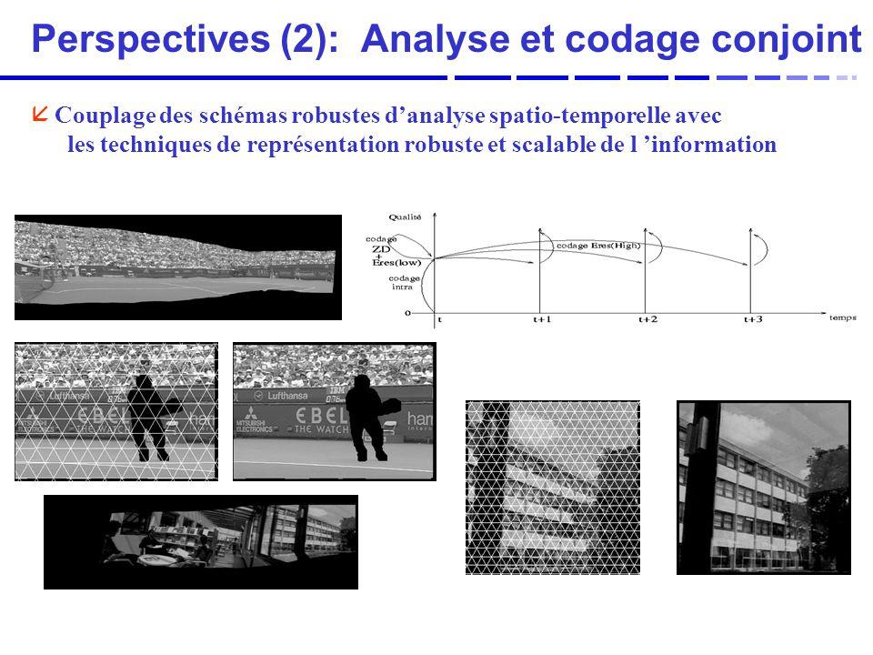 Perspectives (2): Analyse et codage conjoint å Couplage des schémas robustes danalyse spatio-temporelle avec les techniques de représentation robuste et scalable de l information