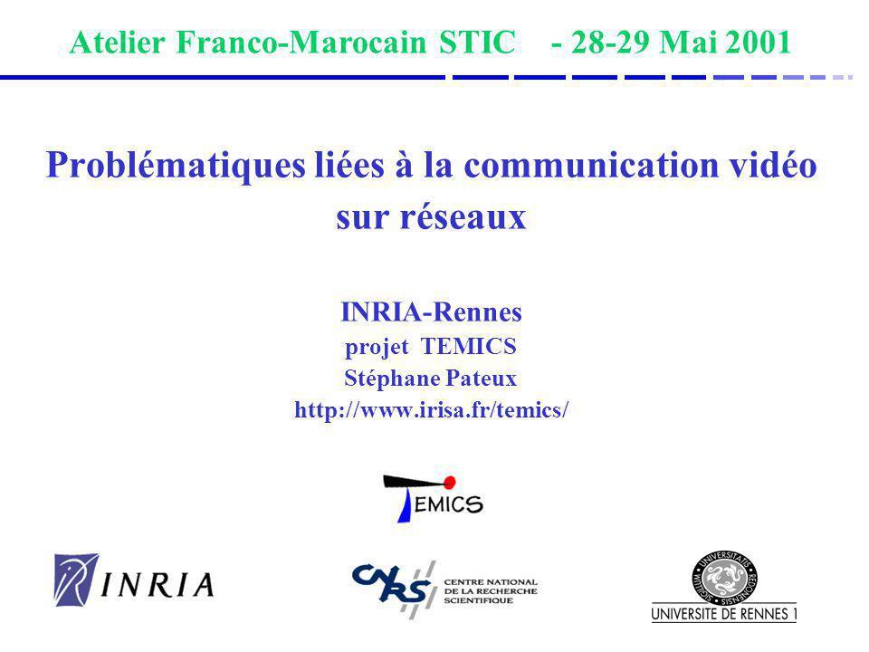 Problématiques liées à la communication vidéo sur réseaux INRIA-Rennes projet TEMICS Stéphane Pateux http://www.irisa.fr/temics/ Atelier Franco-Maroca