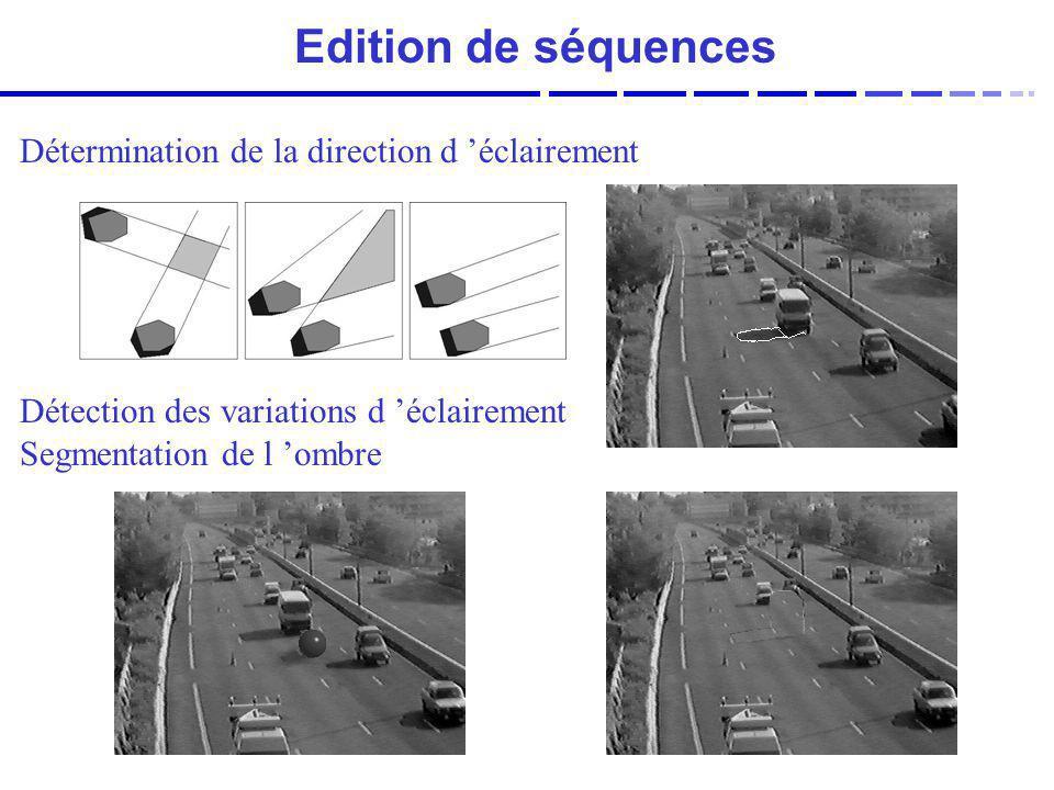 Détermination de la direction d éclairement Détection des variations d éclairement Segmentation de l ombre Edition de séquences