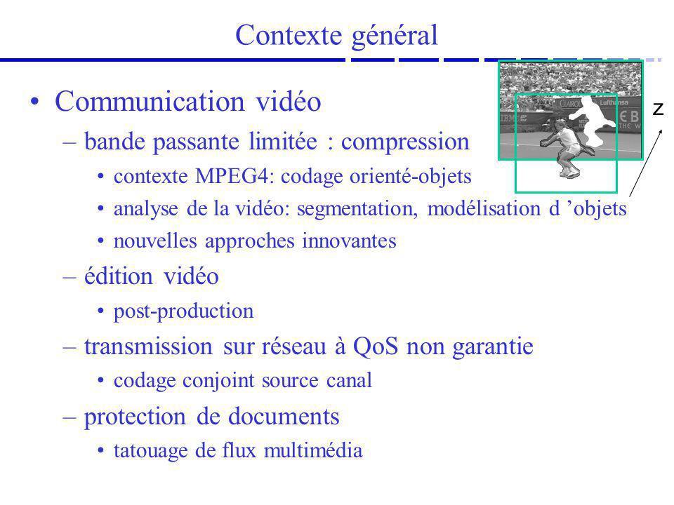 Contexte général Communication vidéo –bande passante limitée : compression contexte MPEG4: codage orienté-objets analyse de la vidéo: segmentation, mo