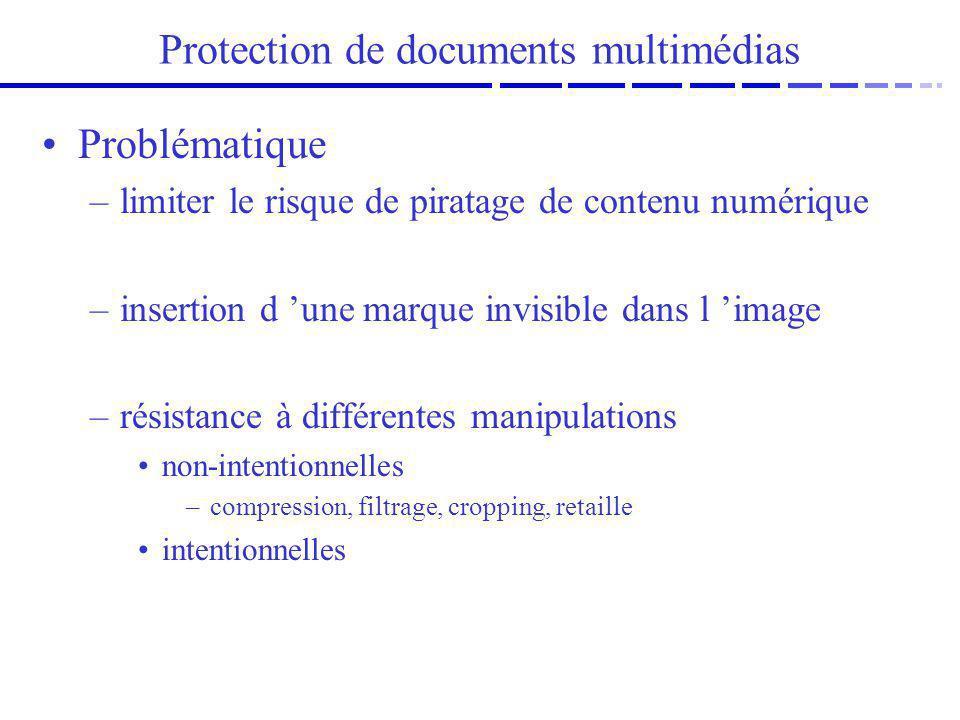 Protection de documents multimédias Problématique –limiter le risque de piratage de contenu numérique –insertion d une marque invisible dans l image –