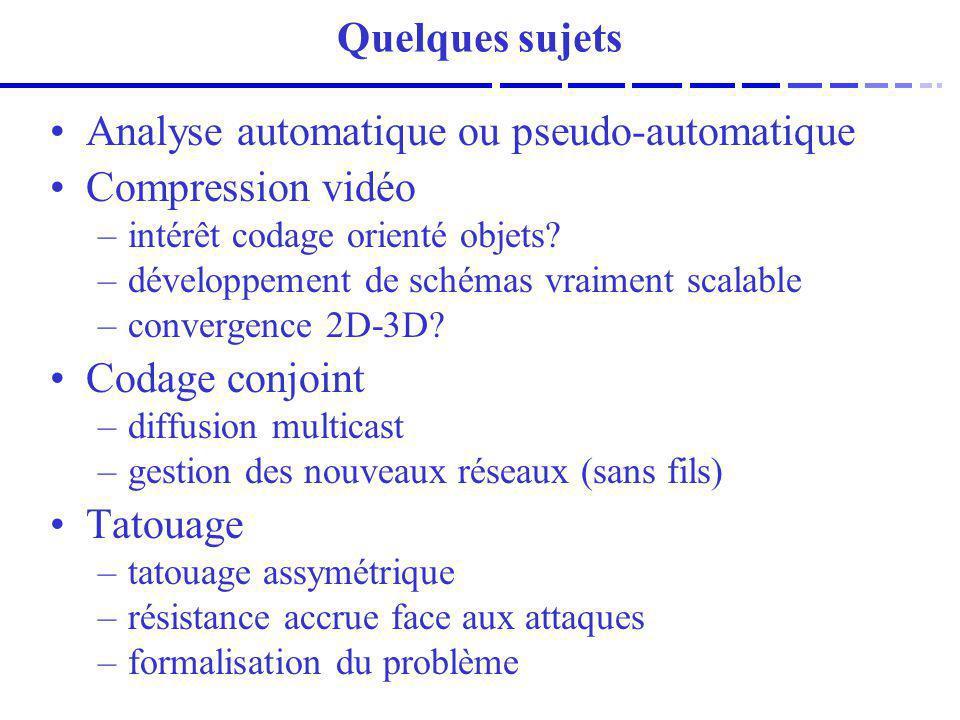 Analyse automatique ou pseudo-automatique Compression vidéo –intérêt codage orienté objets? –développement de schémas vraiment scalable –convergence 2