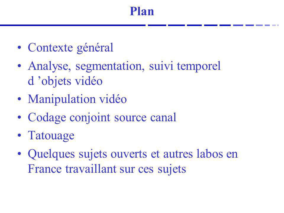 Contexte général Analyse, segmentation, suivi temporel d objets vidéo Manipulation vidéo Codage conjoint source canal Tatouage Quelques sujets ouverts