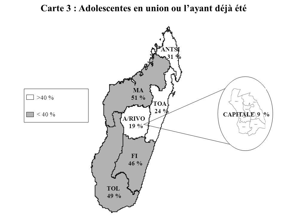 Carte 3 : Adolescentes en union ou layant déjà été ANTSI 31 % MA 51 % A/RIVO 19 % TOA 24 % TOL 49 % CAPITALE 9 % FI 46 % >40 % < 40 %