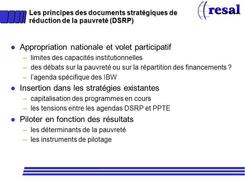 Les principes des documents stratégiques de réduction de la pauvreté (DSRP) l Appropriation nationale et volet participatif –limites des capacités institutionnelles –des débats sur la pauvreté ou sur la répartition des financements .